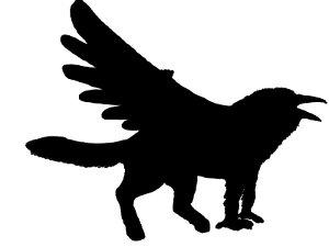 Silhouette d'un Valraven sous sa forme hybride
